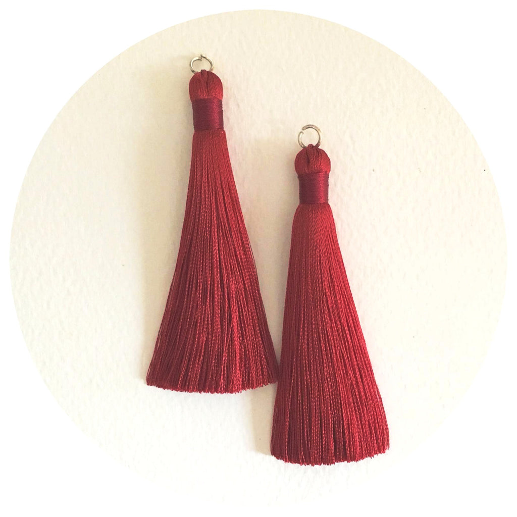80mm Silk Tassels - Red Wine - 2pack