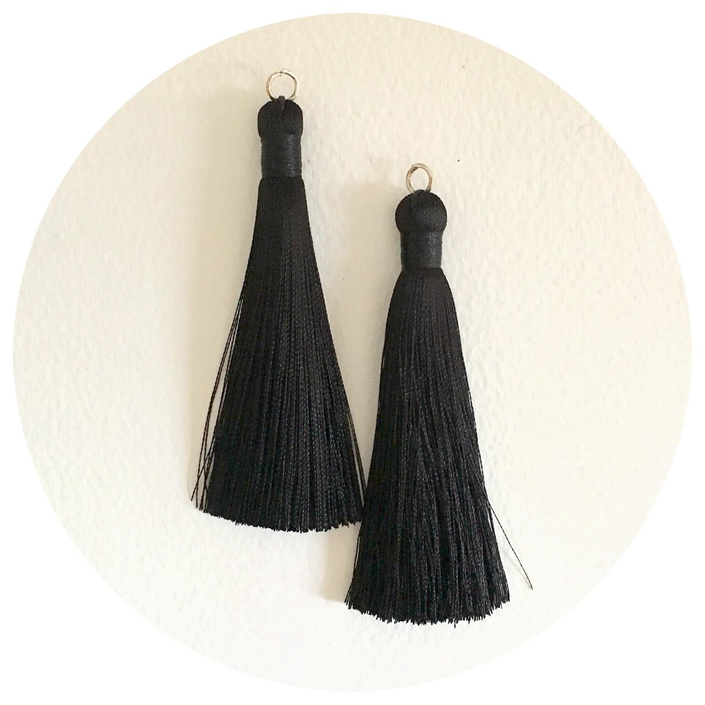 80mm Silk Tassels - Jet Black - 2pack - 6218