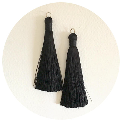 80mm Silk Tassels - Jet Black - 2pack