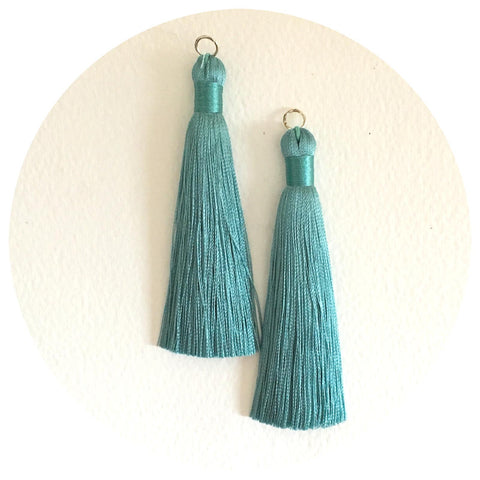 80mm Silk Tassels - Soft Green - 2pack