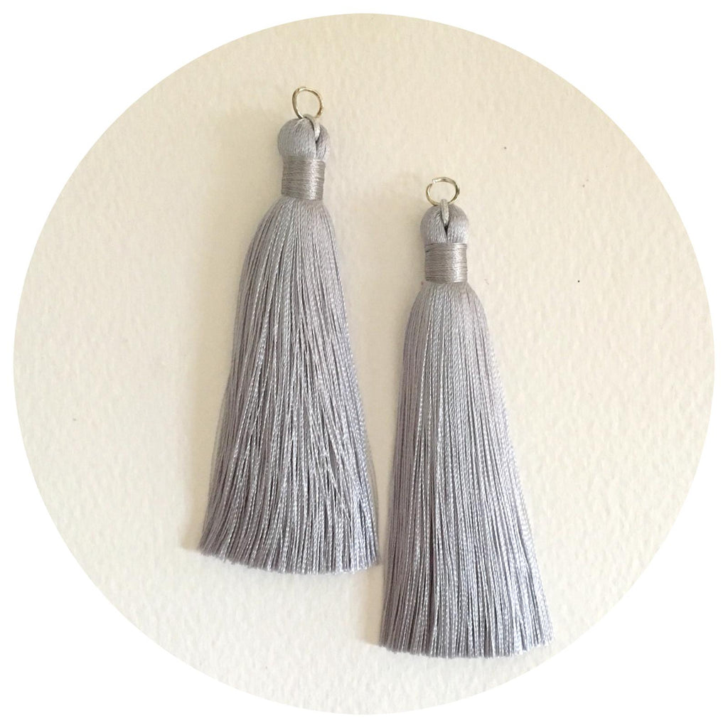 80mm Silk Tassels - Light Grey - 2pack