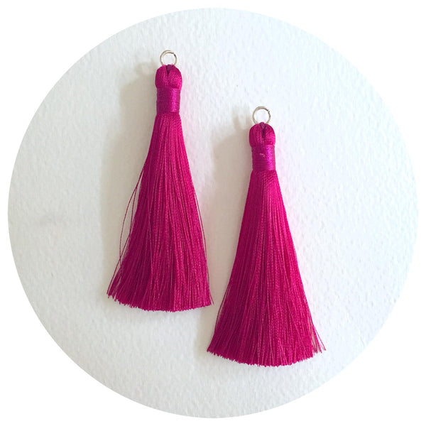 80mm Silk Tassels - Magenta - 2pack