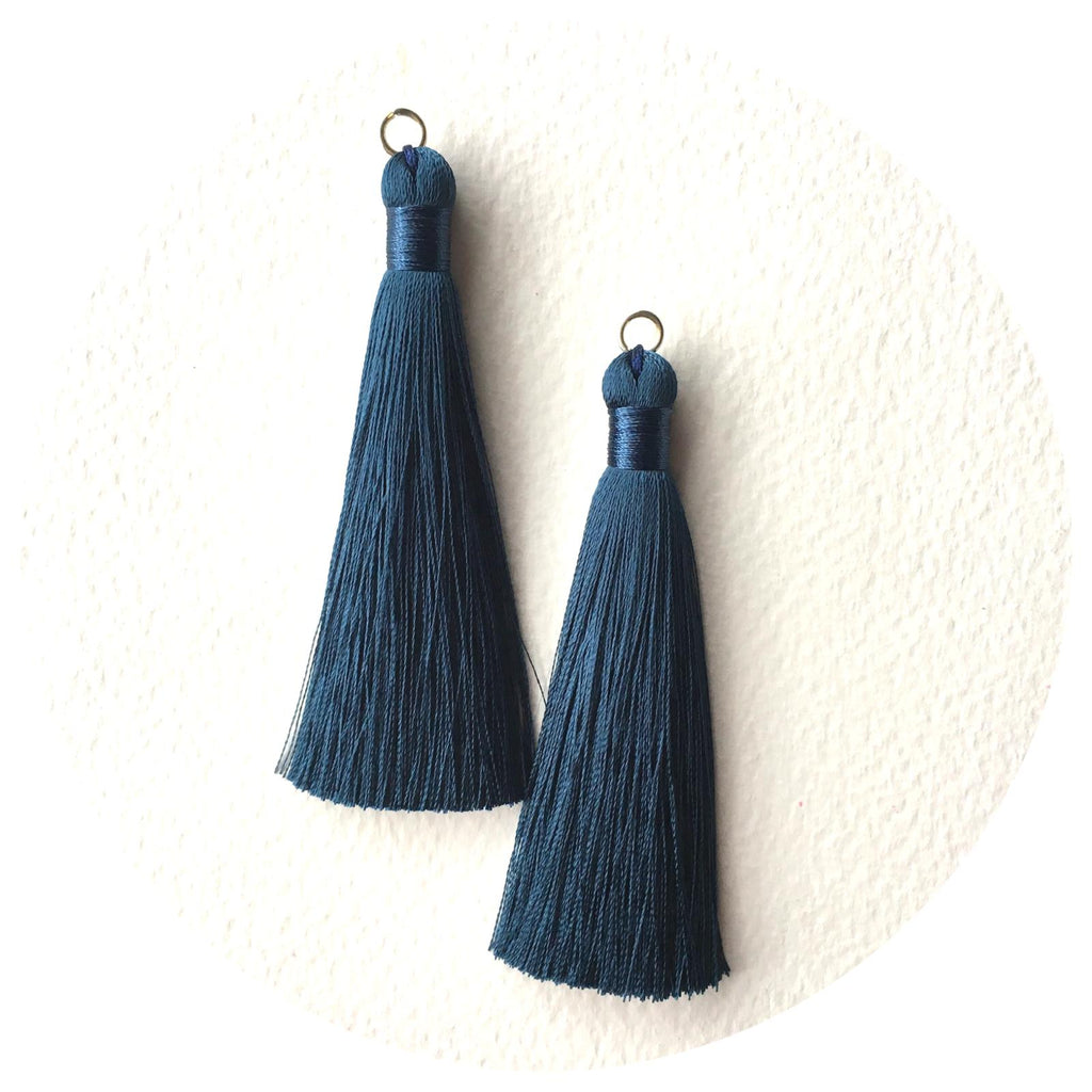 80mm Silk Tassels - Teal - 2pack
