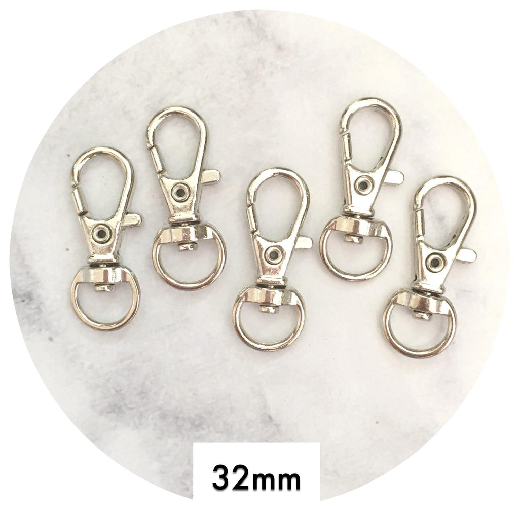 32mm Swivel Lobster Clasps - Silver - 20pack