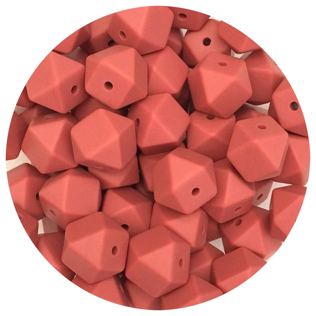 Maroon Red - 14mm Mini Hexagon - 10/20pack