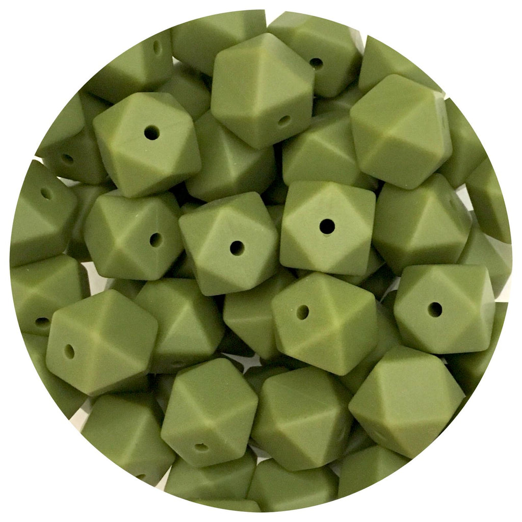 Army Green - 14mm Mini Hexagon - 10/20pack