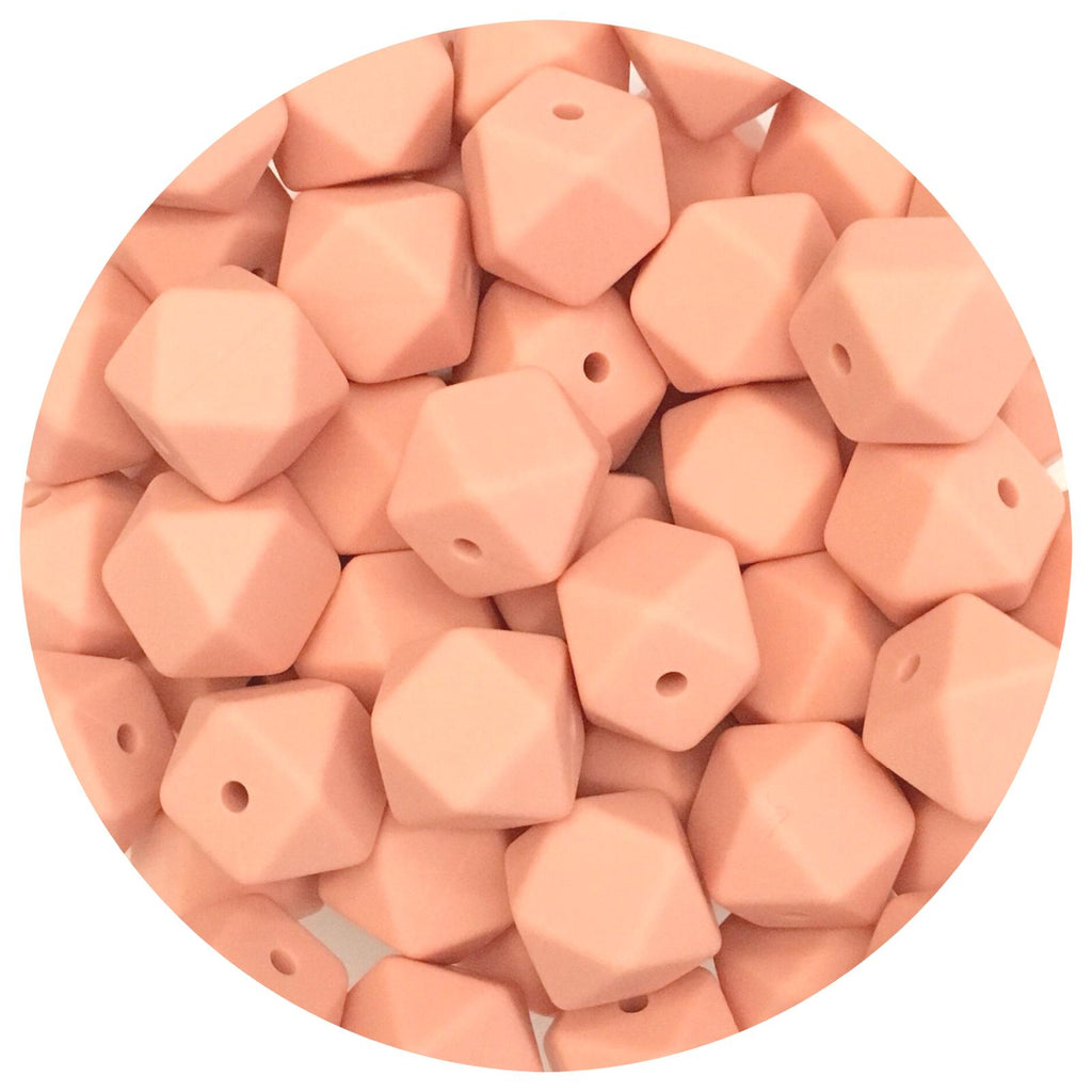 Peach - 14mm Mini Hexagon - 10/20pack