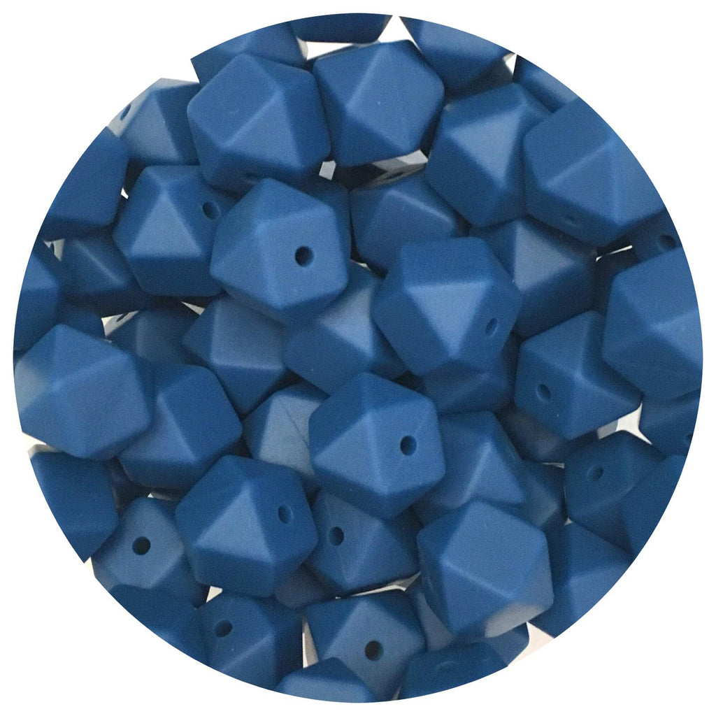 Indigo Blue - 14mm Mini Hexagon - 10/20pack