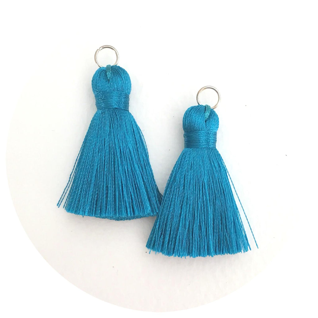 40mm Silk Tassels - Teal - 2pack