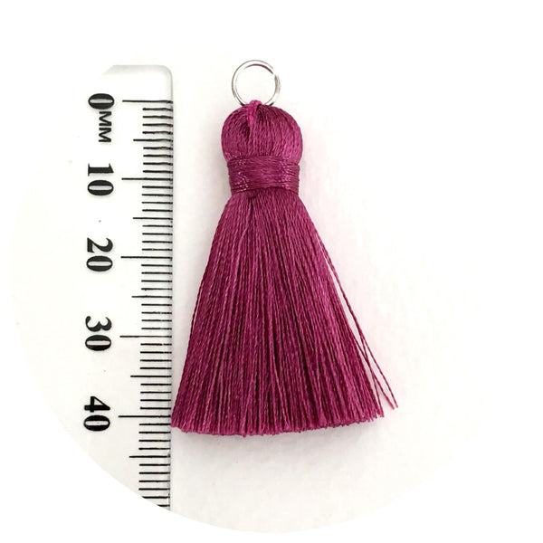 40mm Silk Tassels - Medium Grey - 2pack