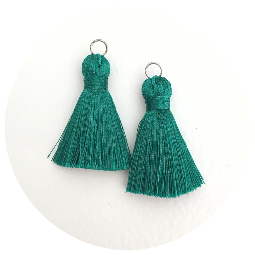 40mm Silk Tassels - Emerald Green - 2pack