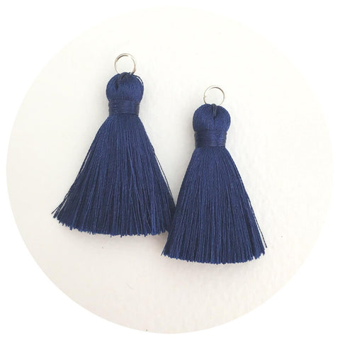 40mm Silk Tassels - Navy Blue - 2pack