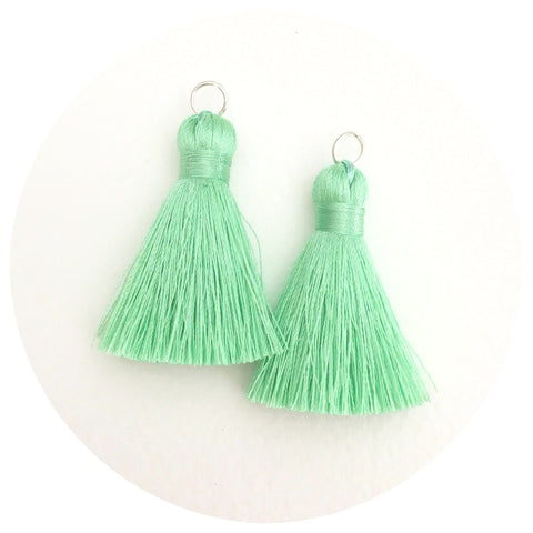 40mm Silk Tassels - Mint Green - 2pack