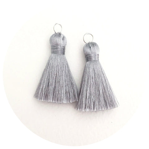 40mm Silk Tassels - Light Grey - 2pack