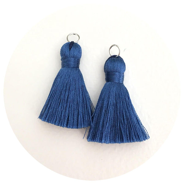 40mm Silk Tassels - Indigo Blue - 2pack