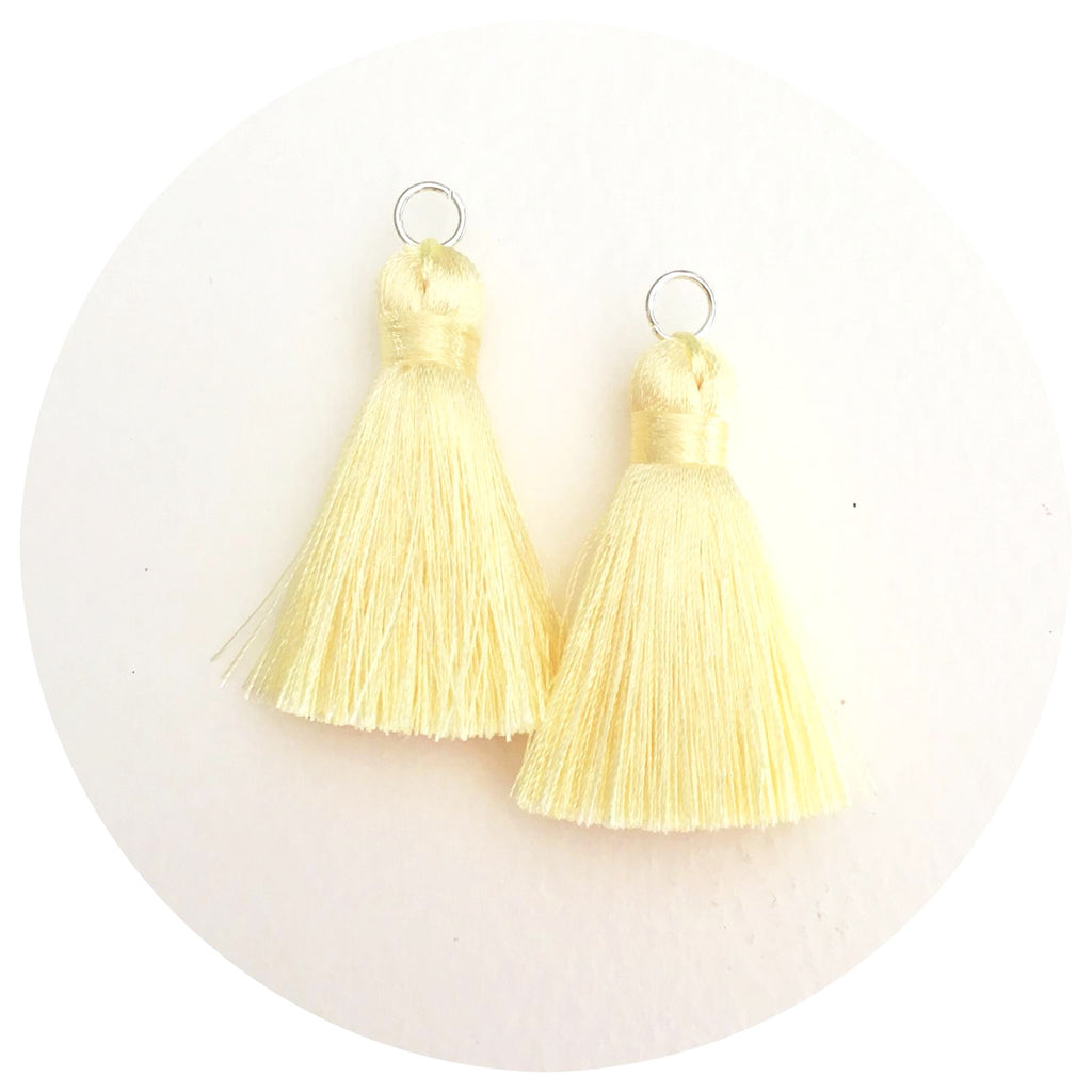 40mm Silk Tassels - Buttery Yellow - 2pack