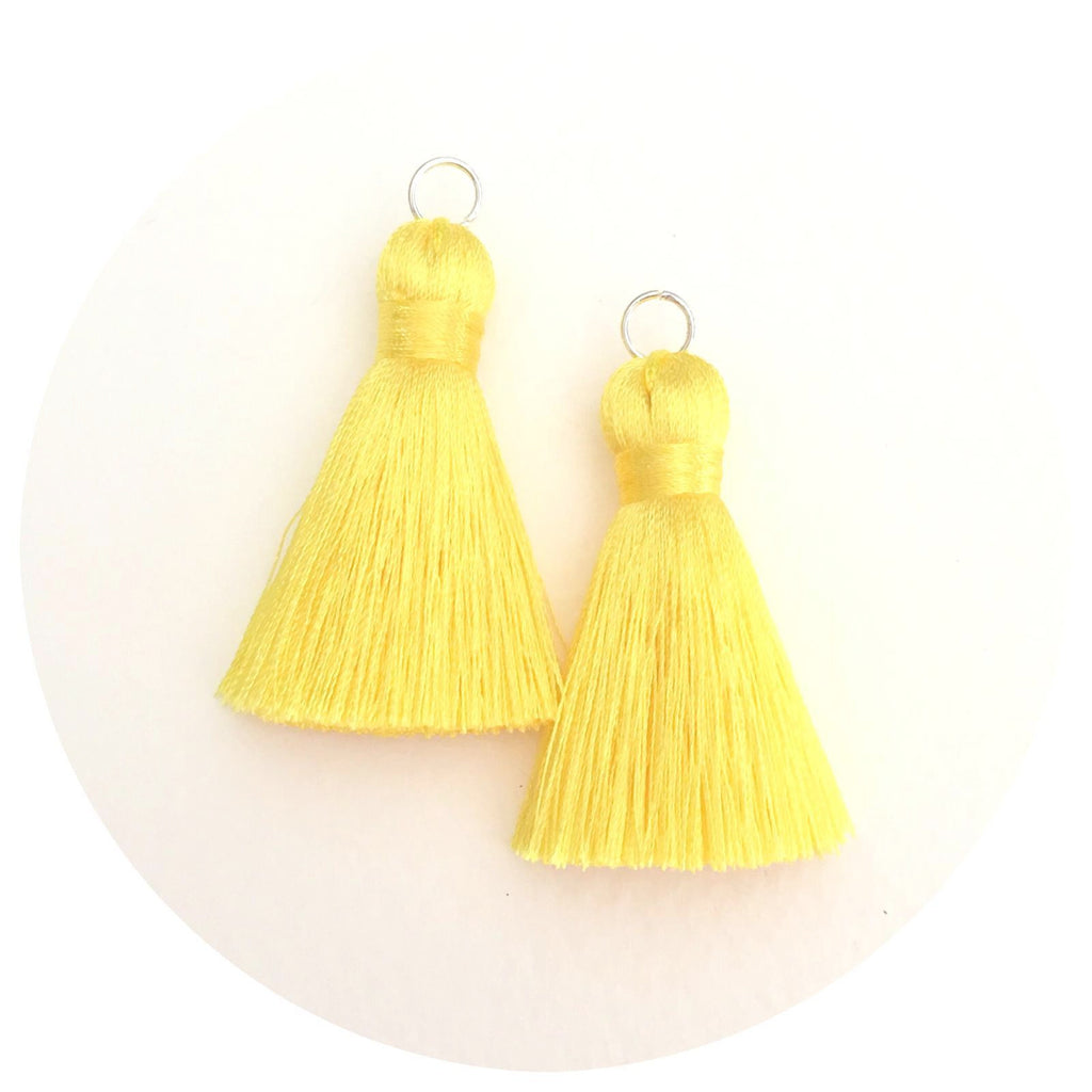 40mm Silk Tassels - Lemon Yellow - 2pack