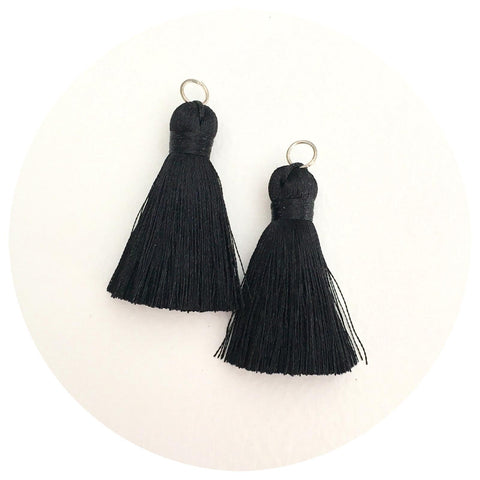 40mm Silk Tassels - Jet Black - 2pack