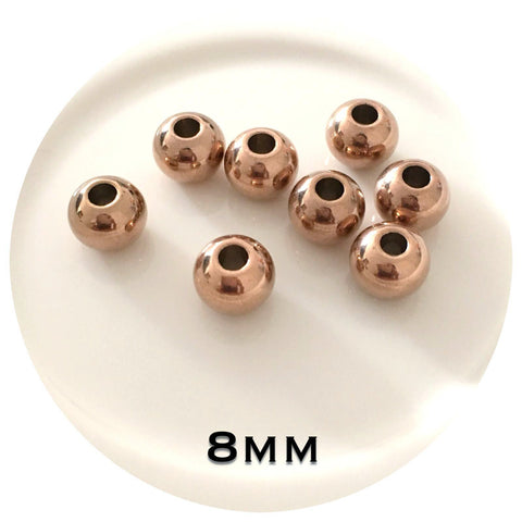 8mm Rose Gold Stainless Steel Beads - Large Hole - 20/50pack