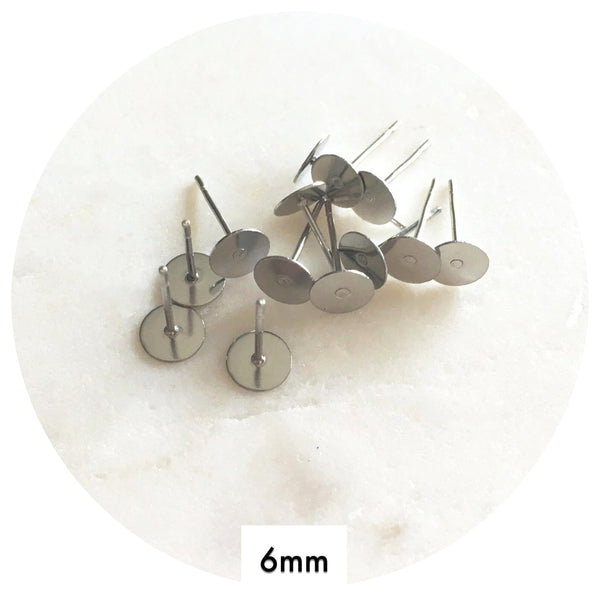 6mm Surgical Steel Earring Stud Posts - 50/100pack