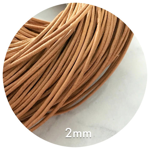 Genuine Leather Cord - Natural Tan - 2mm