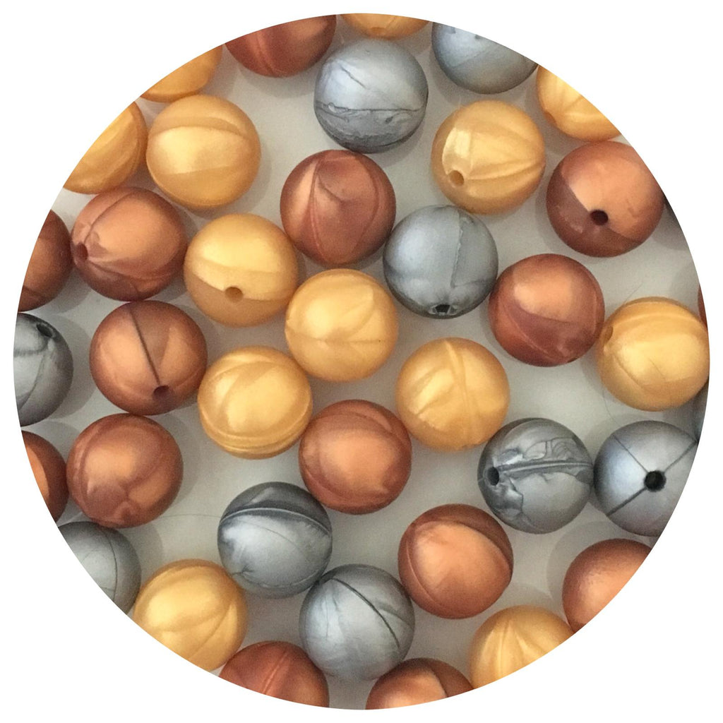 Metallic Mix - 15mm round - 30pack - Rose Copper, Silver & Pearl Gold