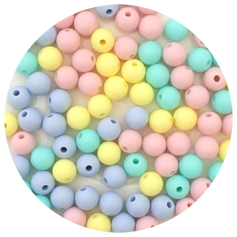 Pastels Mix - 9mm round - Aqua, Buttery Yellow, Blush, Pastel Blue - 40pack