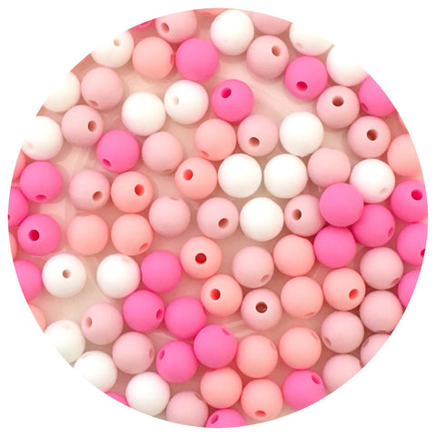 Pink Mix - 9mm round - Candy Pink, Bubblegum, Blush, Snow White - 40pack