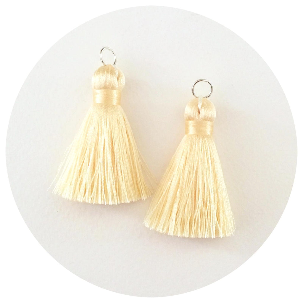 40mm Silk Tassels - Cream - 2pack
