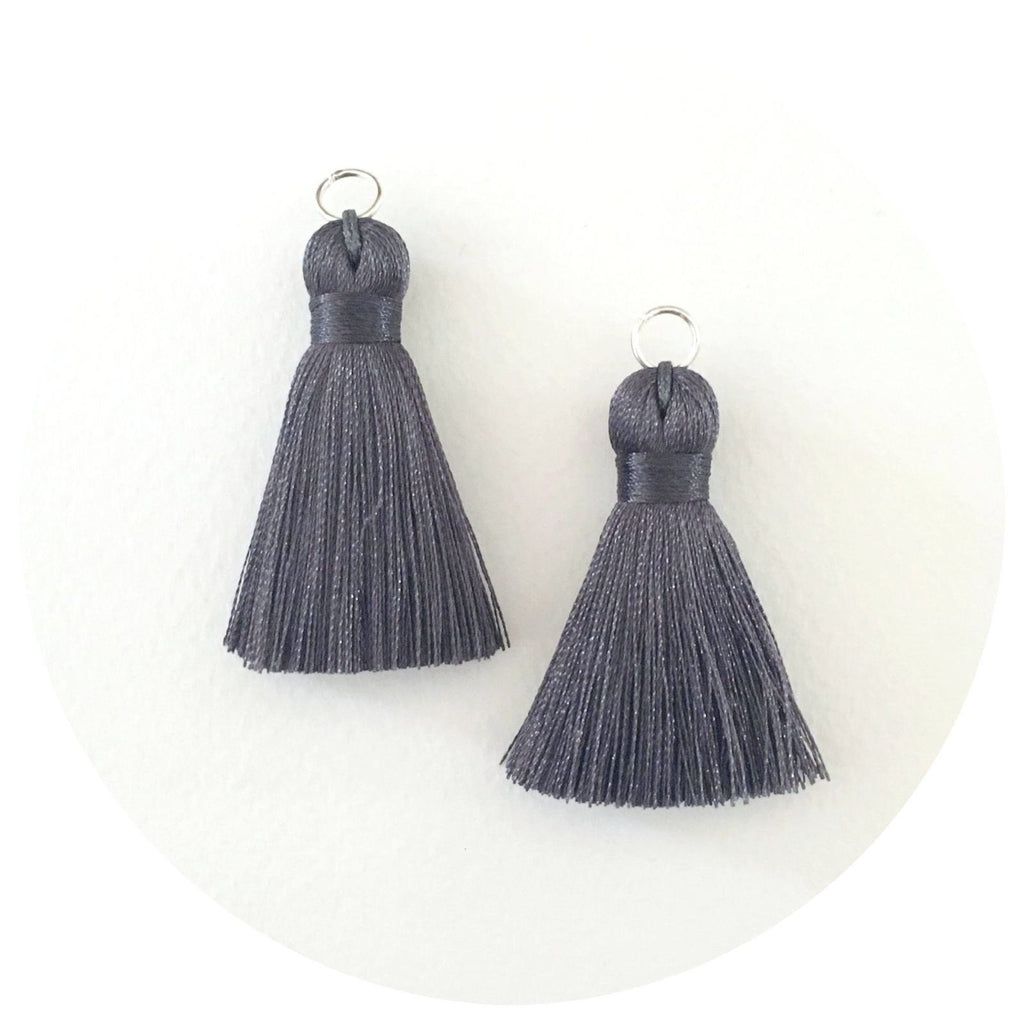 40mm Silk Tassels - Charcoal Grey - 2pack