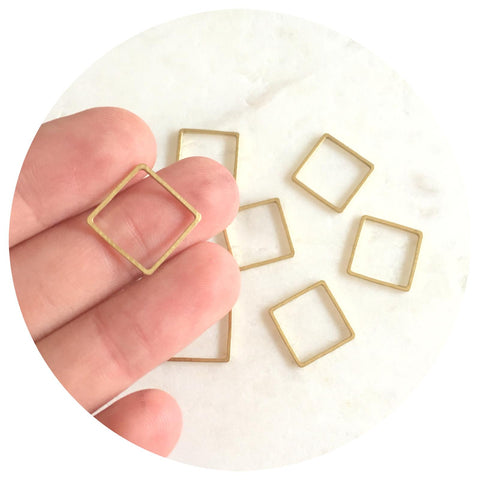 14mm Square Connector - Raw Brass - 2pk