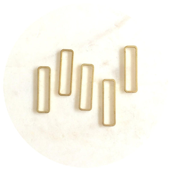 26mm Open Rectangle Connector - Raw Brass - 2pk