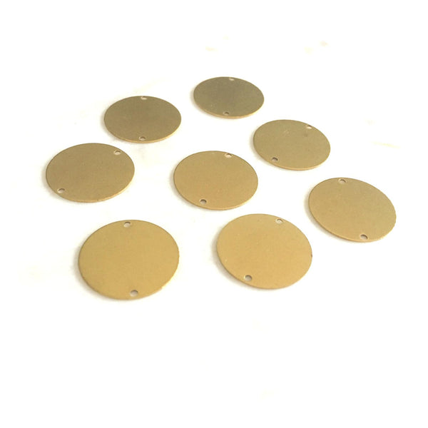 20mm Circle Connector 2 Holes - Raw Brass - 2pk
