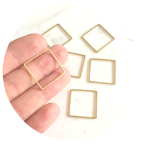 20mm Square Connector - Raw Brass - 2pk