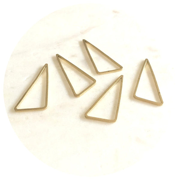 30mm Asymmetrical Triangle Connector - Raw Brass - 2pk