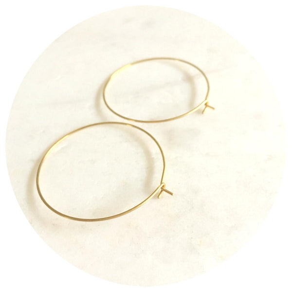 35mm Raw Brass Earring Wire Hoops - 2pack