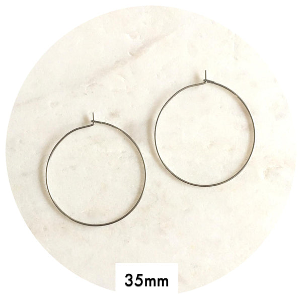 35mm Stainless Steel Earring Wire Hoops - 2pack