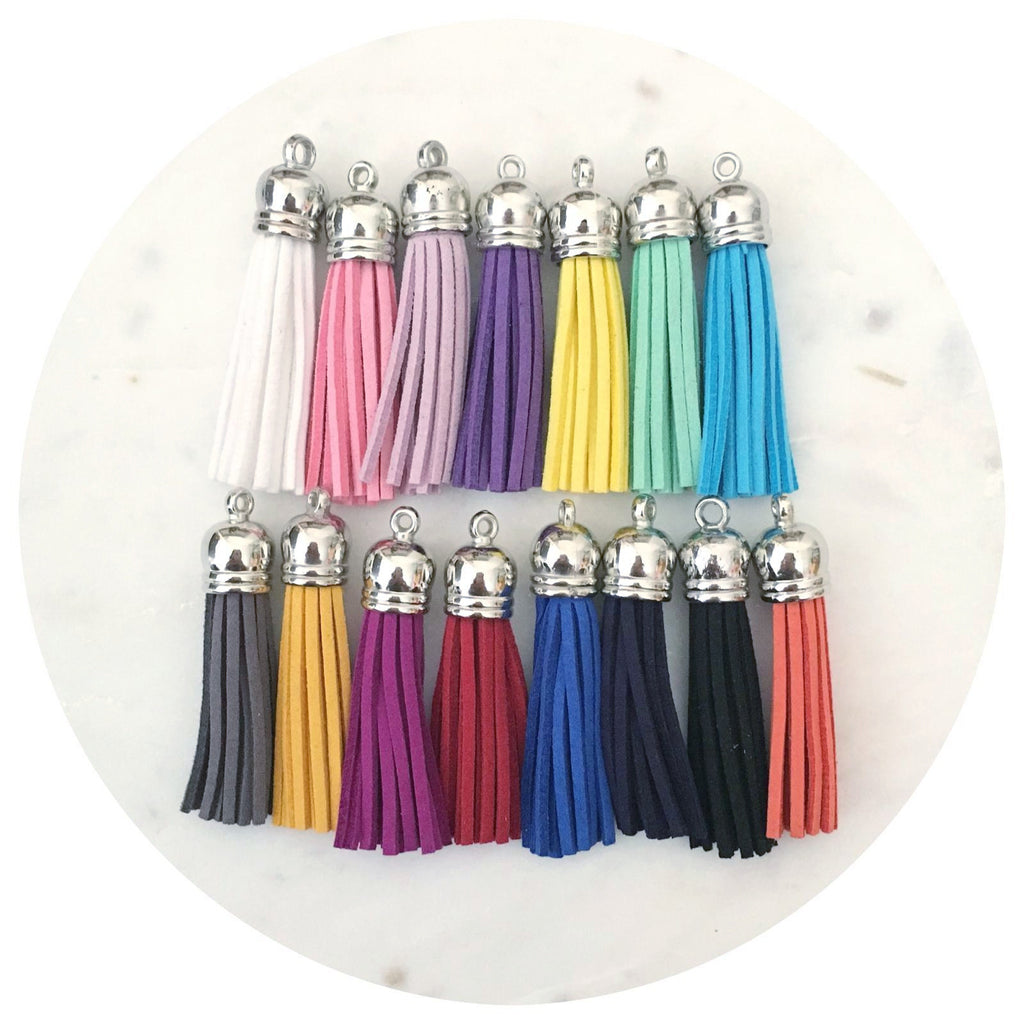 55mm Suede Tassels Silver Cap - Mixed Colours - 15pack