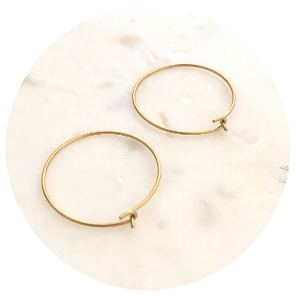 25mm Raw Brass Earring Wire Hoops - 2pack