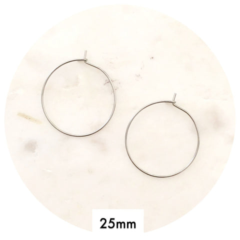25mm Stainless Steel Earring Wire Hoops - 2pack