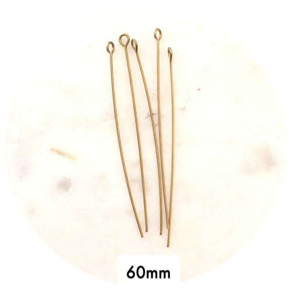 60mm Eye Pins Findings - Raw Brass - 10pk