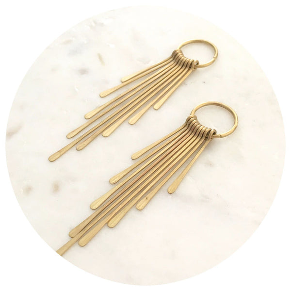 82mm Fringed Pendant Hammered Ends - Raw Brass - 2pk - 380BR