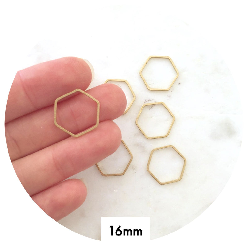 16mm Open Hexagon Connector - Raw Brass - 2pk
