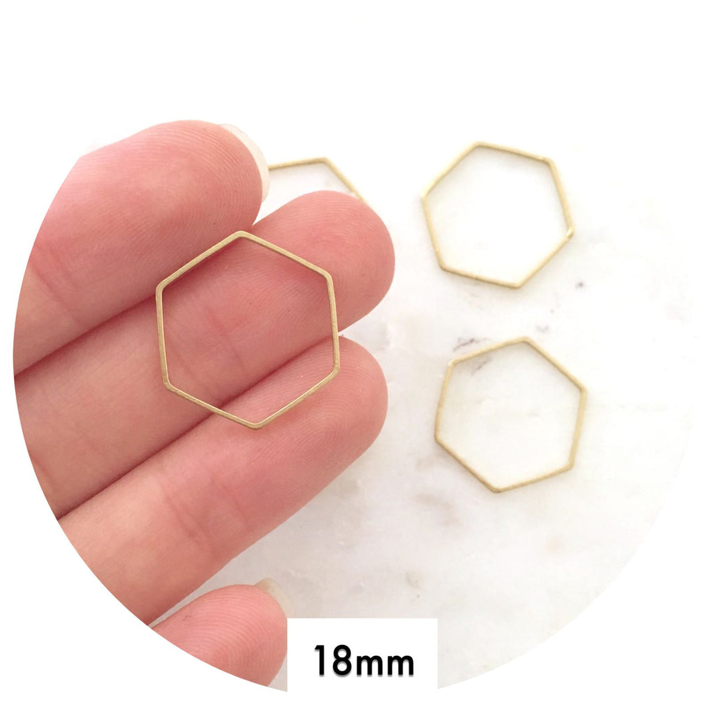 18mm Open Hexagon Connector - Raw Brass - 2pk