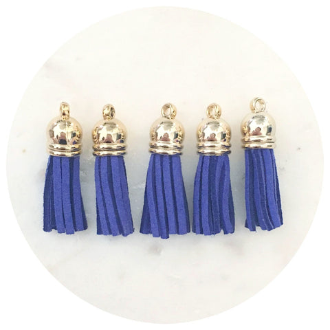 39mm Suede Tassels Gold Cap - Royal Blue - 1/5pack