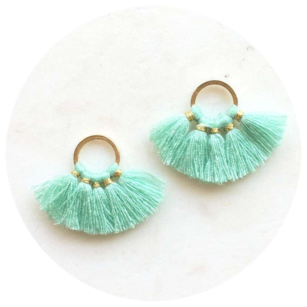 Mini Fan Cotton Tassel - Mint Green - 2pk