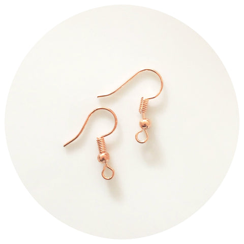 Earring Hooks - Rose Gold - Lead & Nickel Free - 50/100pack