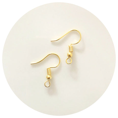 Earring Hooks - Gold - Lead & Nickel Free - 50/100pack