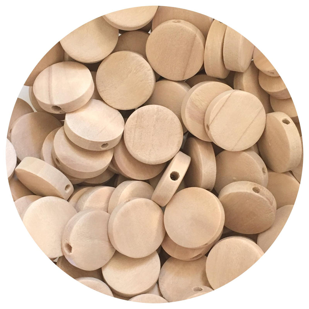 Natural Wood Flat Disc Beads - 15mm - 20/50/80pack
