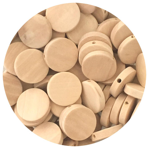 Natural Wood Flat Disc Beads - 20mm - 20/50/80pack